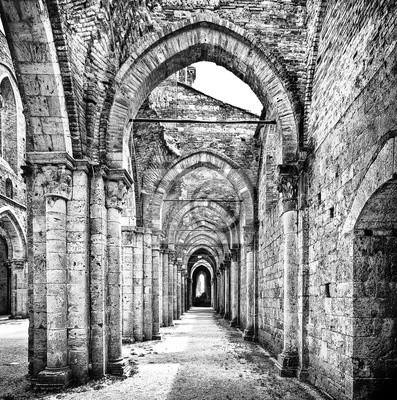 Poster Histórico, ruínas, abandonado, abadia, pretas, branca