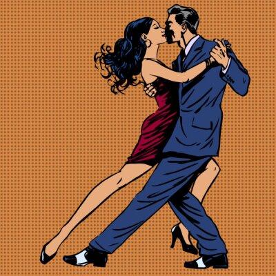 Poster homem e mulher beijo dança tango pop art