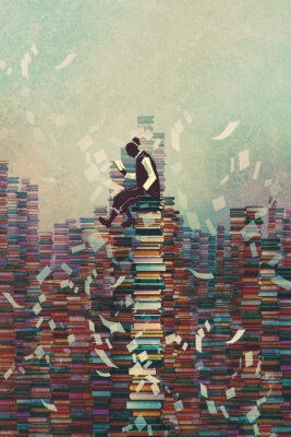 Poster Homem, leitura, livro, enquanto, sentando, pilha, LIVROS, conhecimento, conceito ...
