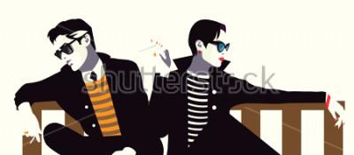 Poster Homem na moda e a mulher no estilo pop art.