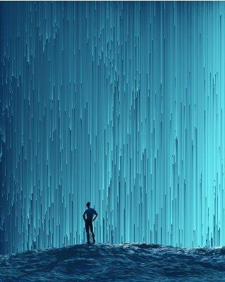 Poster Homem, olhar, digital, fluxo