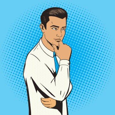Poster Homem, pensando, difícil, pop, arte, estilo, vetorial