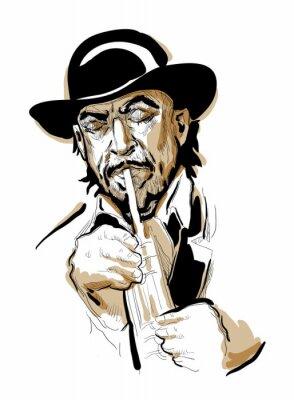 Poster Homem que joga a trombeta.
