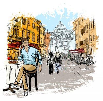 Poster Homem, sentando, café