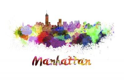 Poster Horizonte de Manhattan na aguarela