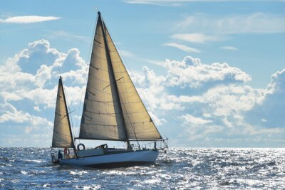 Poster Iate, velejando, ensolarado, Dia, Riga, baía