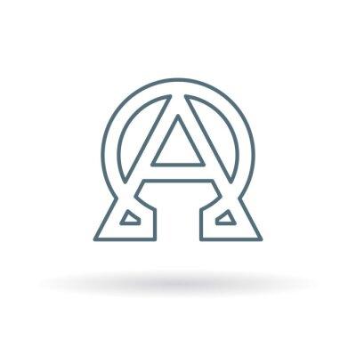 Poster Ícone abstrato de alfa e de ômega. Sinal de início e fim. Símbolo grego alfa e ômega. Logotipo alfa e omega. Ícone de linha fina no fundo branco. Ilustração do vetor.