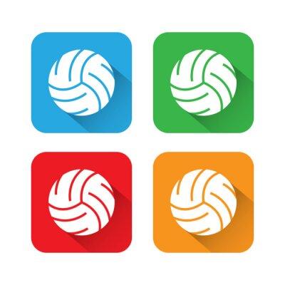 Poster Ícone de voleibol de sombra plana e longa