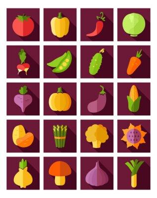 Poster Ícone plano vegetal com longa sombra