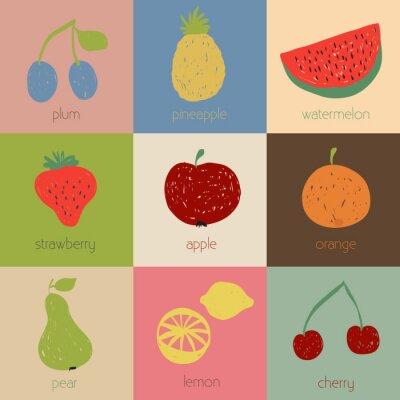 Poster Ícones da fruta do Doodle em cores retros