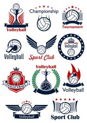Poster Ícones de jogos de voleibol, emblemas e símbolos