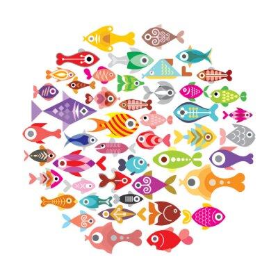 Poster Ícones dos peixes redondos