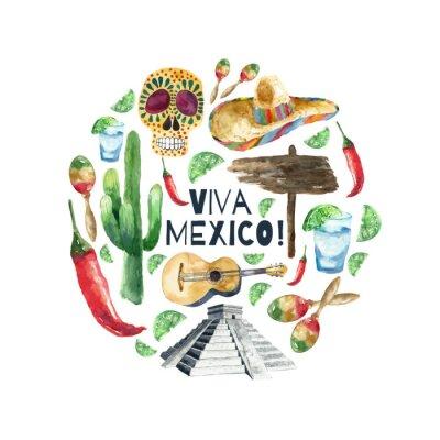Poster ícones méxico aguarela.