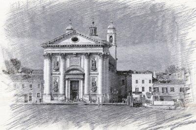 Poster Igreja Santa Maria del Rosario, na Itália, Veneza. Esboço