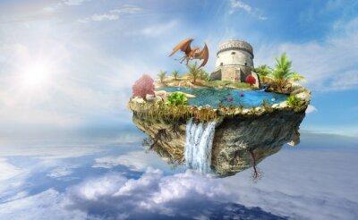 Poster ilha dragão voa no espaço