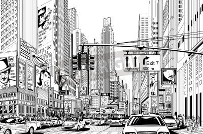 Poster Illustration of a street in New York city
