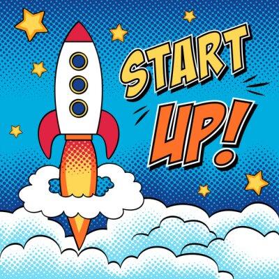Poster Ilustração cómica do começo acima do conceito com um foguete na arte pop