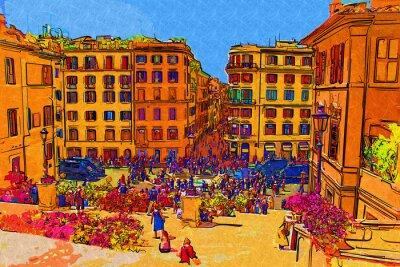 Poster Ilustração da arte de Roma Itália