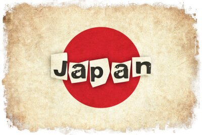 Poster Ilustração da bandeira do grunge de Japão do país asiático com texto