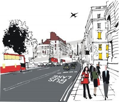 Poster ilustração de passageiros em Londres rua da cidade