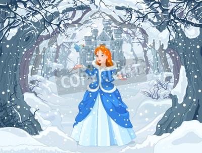 Poster Ilustração de princesa com pássaro perto de Magic Winter Castle