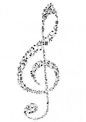 Poster Ilustração de um clef G com notas da música