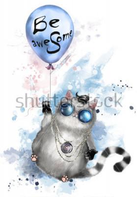 Poster Ilustração de um gato bonito não estilo balancim, com vidros e joia redondos. Gato voando em um balão com letras - ser incrível. pintura em aquarela de respingo. T-shirt, impressão legal.
