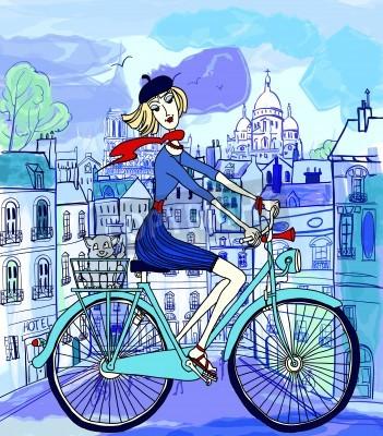 Poster Ilustração de um jovem em uma bicicleta em Paris