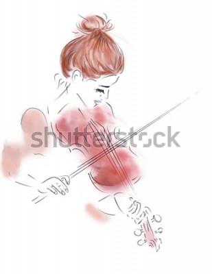 Poster Ilustração de uma menina tocando um violino