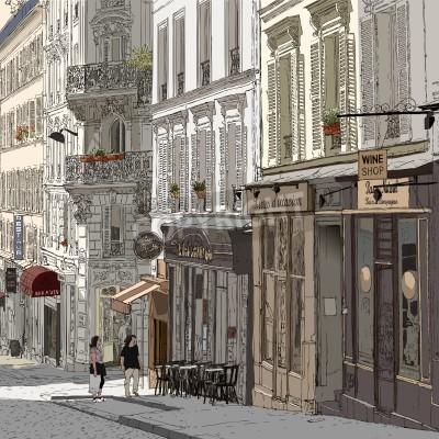 Poster Ilustração de uma rua em Montmartre Paris