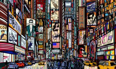Poster Ilustração de uma rua na cidade de Nova York - times square - ilustração vetorial