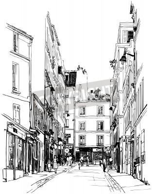 Poster Ilustração de uma rua perto de Montmartre em Paris