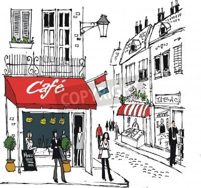 Poster ilustração de vila francesa café da rua cena