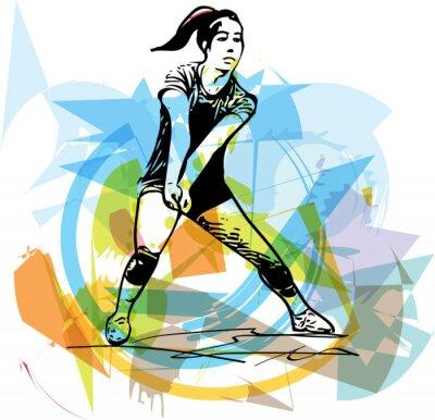 Poster Ilustração de voleibol jogador jogar
