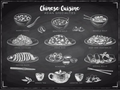 Poster Ilustração desenhada mão do vetor com alimento chinês.