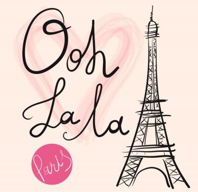 Poster Ilustração desenhada mão do vetor com torre Eiffel