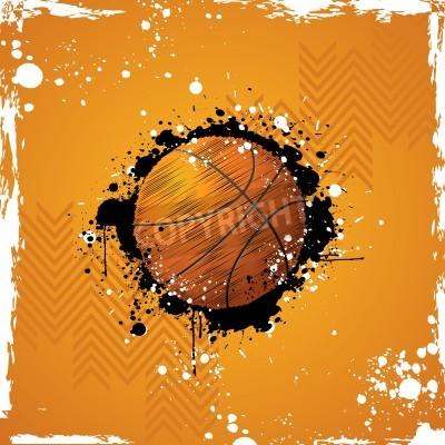 Poster Ilustração do basquetebol no fundo abstrato sujo