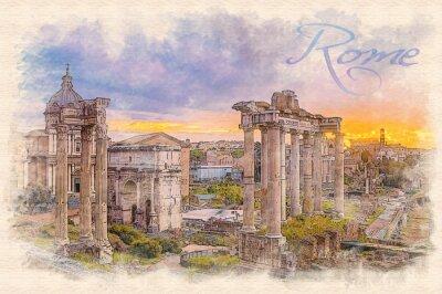 Poster Ilustração do efeito da pintura da aguarela de um alvorecer sobre o fórum romano