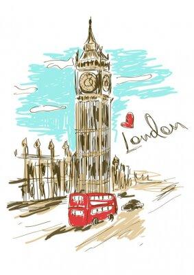 Poster Ilustração do esboço do Big Ben torre
