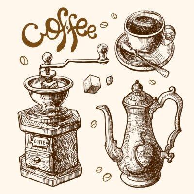 Poster Ilustração do esboço do café