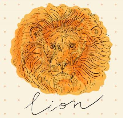 Poster Ilustração do vetor com cabeça de leão