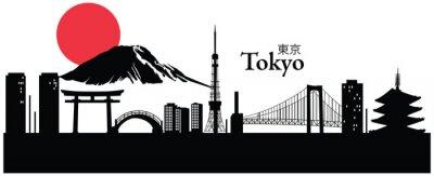 Poster Ilustração do vetor da arquitectura da cidade de Tóquio, Japão