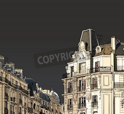 Poster Ilustração do vetor de fachadas em Paris em um clima de tempestade