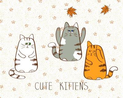 Poster Ilustração do vetor de três gatinhos bonitos do doodle.