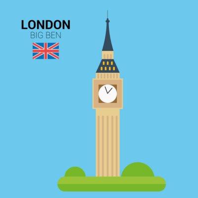 Poster Ilustração do vetor do Big Ben (Londres, Reino Unido). Monumentos e marcos Coleção. EPS 10 arquivo compatível e editável.
