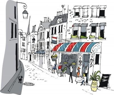Poster Ilustração do vetor do café em Paris, França.