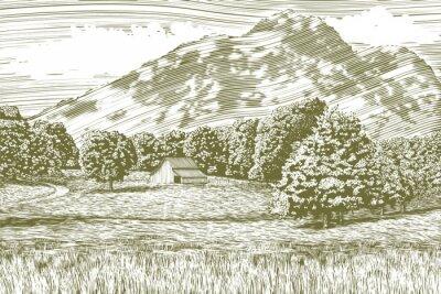 Poster Ilustração do Woodcut-estilo de uma exploração agrícola e de um celeiro com uma montanha no fundo.