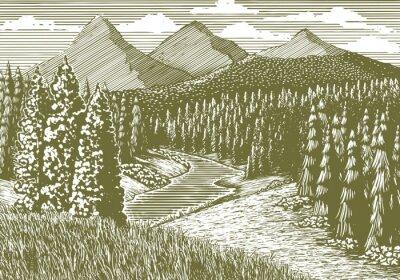 Poster Ilustração do Woodcut-estilo de uma paisagem da montanha com um córrego que funciona através dele.