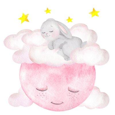 Poster Ilustração em aquarela com coelho fofo, lua, estrelas e nuvens