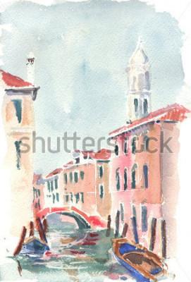 Poster Ilustração em aquarela de canal veneziano